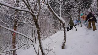 かんじきを履いて雪中トレッキング
