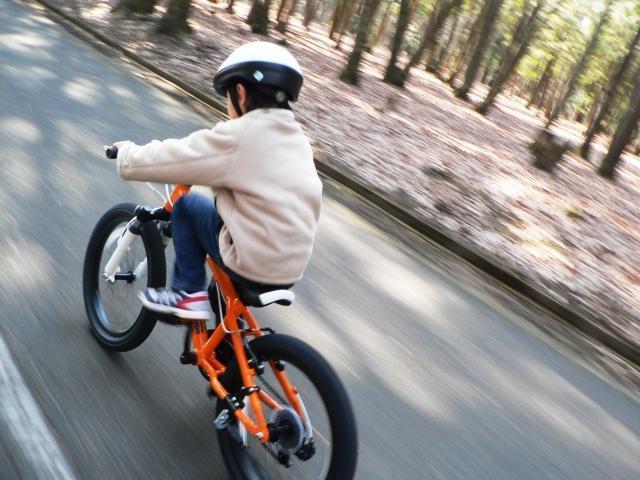 ヘルメットを着用し自転車に乗る子供